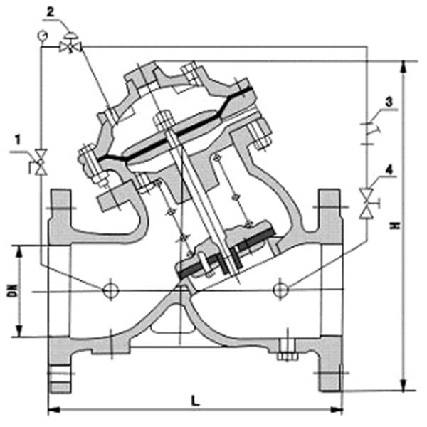 YX741X隔膜式可调减压稳压阀图