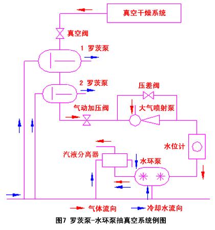 图7罗茨泵-水环泵抽真空系统例图
