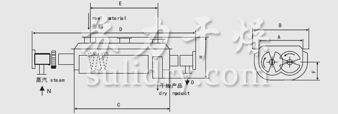 JYG係列空心槳葉幹燥機安裝結構圖