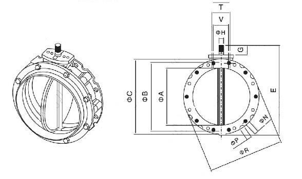 气动粉体蝶阀结构图
