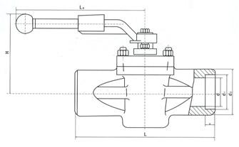 美标承插焊式卡套旋塞阀结构示意图