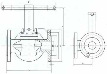 L型三通卡套旋塞阀结构图