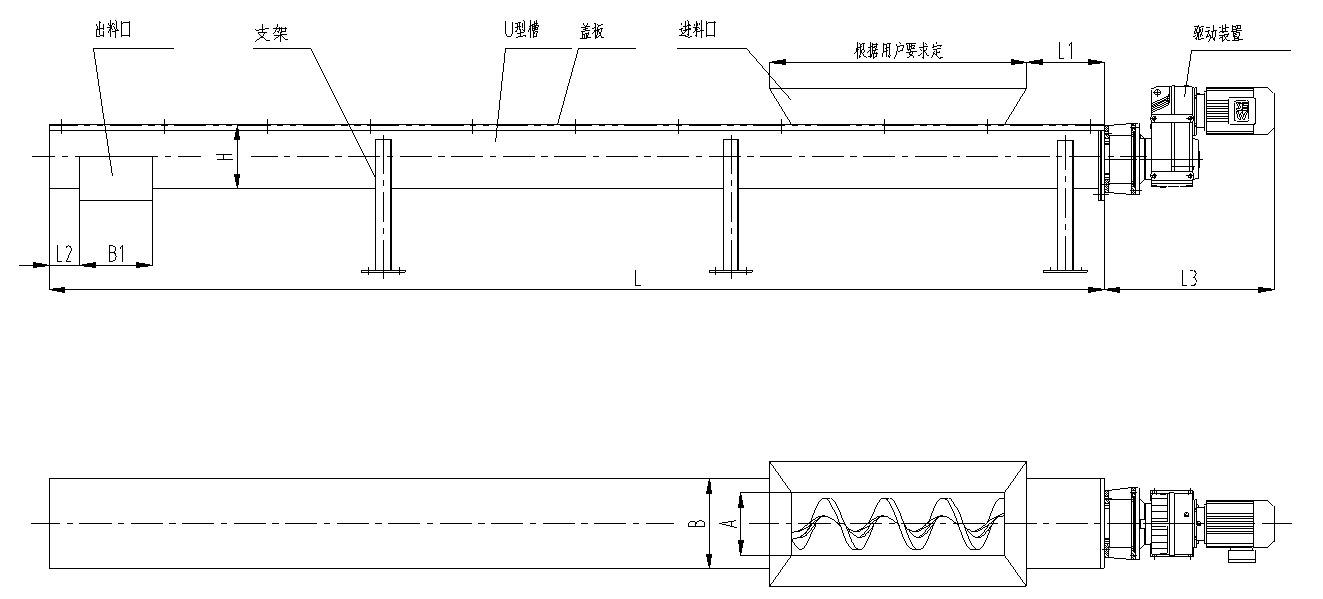 无轴螺旋输送机主机外形尺寸