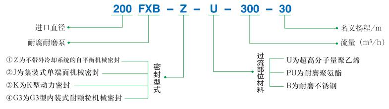 FXB-Z系列稀酸泵型號標注說明
