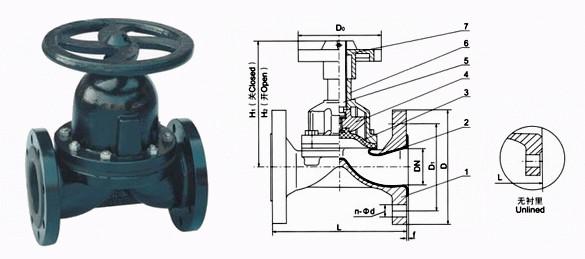 EG41J<strong>英标衬胶隔膜阀</strong>图
